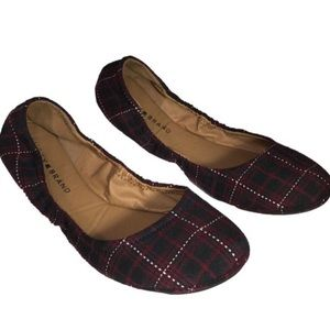 Lucky Brand Ballet Flats Red and Black Plaid